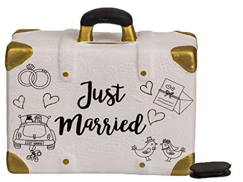 Bada Bing Spardose Hochzeitskasse Koffer Just Married HBT ca. 13,5 x 14,5 x 5,5 cm Reisekasse Hochzeit Geschenk Geldgeschenk 06