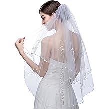 a9fc4f4ff6 Edith qi 2 capa elegante flor de perlas perlas de cristal con velo de la  boda