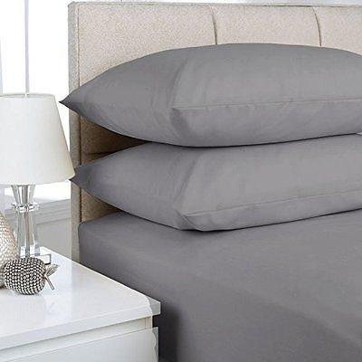 Fadenzahl 300 Baumwoll-satin Bettwäsche (100% ägyptische Baumwolle Satin Qualität Extra tief Spannbettlaken 40,6cm/40cm tief besten Bettwäsche Fadenzahl 300in verschiedene Farben und Größen, grau, Super King)