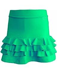 Sportkind Jupe-short à volants de tennis / hockey sur gazon / course à pied pour fille et femme en vert tailles 4 ans à XL