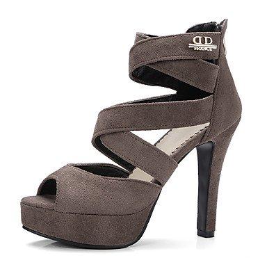 Sandales femmes Chaussures Club Printemps Été robe extérieure en simili cuir Fermeture éclair talon aiguille Khaki