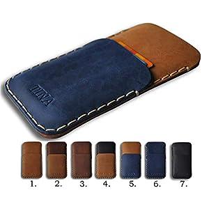 Leder Etui Tasche Cover Case personalisiert durch Prägung mit ihrem Namen, ideal für iPhone 11 Pro Max XS XS XR X 8 7 Plus 6 6s + 5 5s 5c SE Handytasche Hülle
