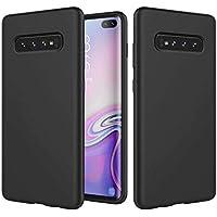 Ttimao Compatible con Funda Samsung Galaxy S10E Silicona Líquida Gel Cubierta+1*Protector de Pantalla Anti-Shock Funda Protectora con Cojín de Forro de Tela de Microfibra Suave-Negro