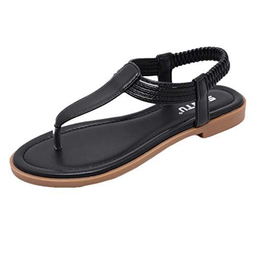 Dorical Damen Sommer Sandalen/Flip Flops Flach Clip Toe Sandaletten Schwimmbadschuhe Outdoor Casual Hausschuhe Strandschuhe Badeschlappen/Valentinstag Beach-schuhe (Schwarz,42 EU)