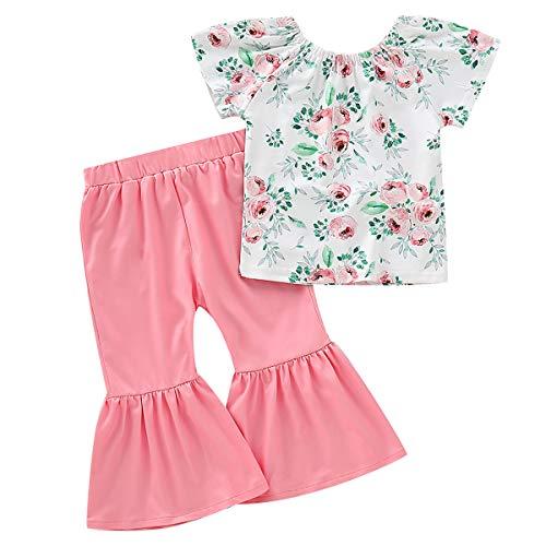puseky Kinder Baby Mädchen Little Sister Rüschen Shirt Tops + Leopard Bell Bottom Pants Outfits Sets Gr. 12-18 Monate, Floral+pink