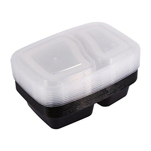 10PCS 2Fächer Bento Box Kunststoff Mikrowelle Container Lagerung von Lebensmitteln mit Deckel und Teller geteilt Bento Lunch Box-, schwarz/weiß Schwarz