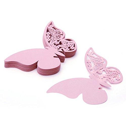 50Stück Laser geschnitten Schmetterling Name Platzkarten für Hochzeit champagner Wein Glas Tisch Dekoration rose