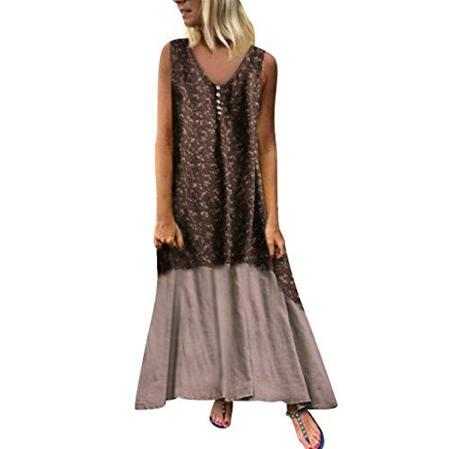 Yu'ting ✿‿✿ vestito estivo da donna abito sciolto manica lunga retro lino cotone abiti lunghi donna eleganti camicetta largo casual estivi vestiti donna taglie forti club