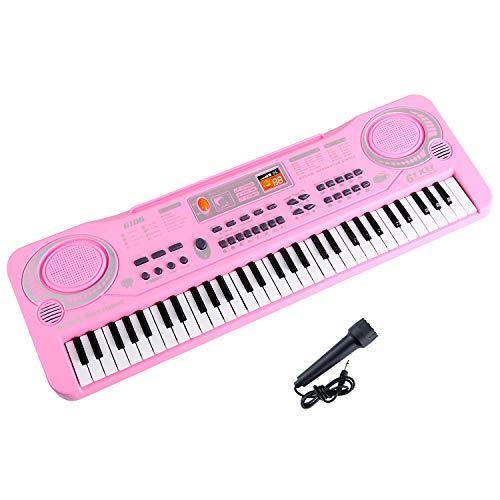 Shayson Kinder Klavier Keyboard, Multifunktions 61 Key Piano Elektronische Orgel Musik Kind Musical Elektronische Karaoke Tastatur Mikrofon Kinder (Rosa)