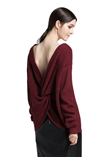 iRachel Damen Long Sleeves Soft V Neck Loose Knit Top Pullover Sweater -