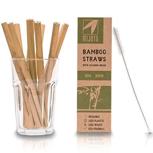 MIJOTO Bambus Strohhalme Wiederverwendbar - 10 Stück mit Reinigungsbürste - Nachhaltige Trinkhalme Biologisch Abbaubar - 20cm lang