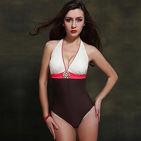 BJN-Europea delle Donne sexy la cucitura di un pezzo di costume da bagno , giallo , 52