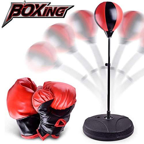 Punchingball Boxen Set für Kinder Boxsack Spielzeug Boxtrainer Stress Beater Höhenverstellbar mit Pumpe und Boxhandschuhen