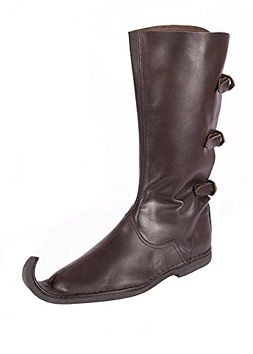 Wikinger Kostüm Stiefel - Schnabelstiefel mit drei Schnallen, dunkelbraun aus