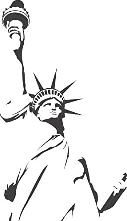 Statue de la liberte description new york mur stickers art mural autocollant 02 - 50cm Hauteur - 50cm Largeur - noir vinyle