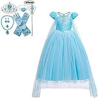 JJAIR Traje del Vestido de la Princesa para la Muchacha, Nieve Partido de la Princesa Vestido de la Navidad de Halloween Vestidos hacia Arriba con los Accesorios,120