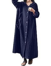 OverDose Damen Herbst-beiläufige Art-Frauen-mit Kapuze lösen langes Maxi  Kleid-langes Hülsen-Kleid-Mantel-Jacken-Strand… 0093454114