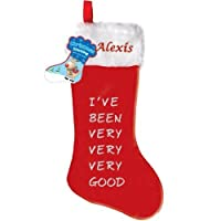 Personalised Embroidered Large Christmas Stocking with name, + Text I've Been Very Good