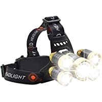 Headlamp,Hargitech Super Bright Zoomable LED Head Torch 4 Modes Headlight Waterproof USB Rechargeable,15000 Lumens Headlamp for Outdoor Camping Fishing Hunting Hiking Running Walking Cycling
