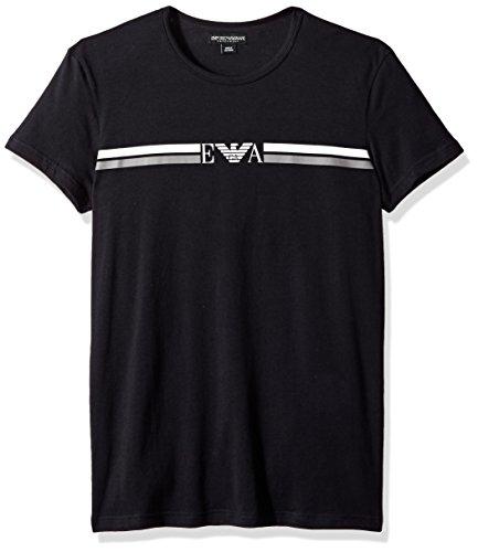 Emporio Armani herren Rugby Player Crew Neck T-shirt  Thermo-Unterwäsche, Oberteil  -  schwarz -  (Shirt Baumwolle-crew Thermal)