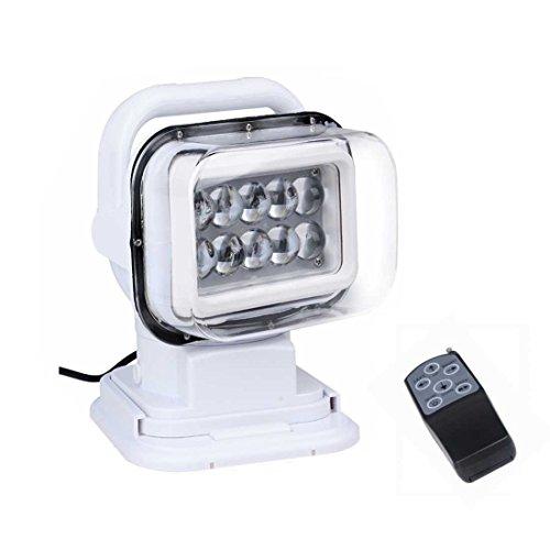 Suparee Cree LED Rotierende Fernbedienung Arbeiten 360º Suchscheinwerfer für den Schutz vor SUV, Boot, Haus, Feld, Notbeleuchtung für den Garten Weiß 12V 24V 50W (Boot-plug-licht)