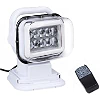LED de luz de búsqueda, 12V 10x5W LED portátil rotatorio noche de trabajo Spot Light luz de respaldo con control remoto, Base de imán para Off-Road Camiones Barco de seguridad para el hogar de emergencia de iluminación negro