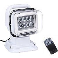 LED de luz de búsqueda, 12V 10x5W LED portátil rotatorio noche de trabajo Spot Light luz de respaldo con control remoto, Base de imán para Off-Road