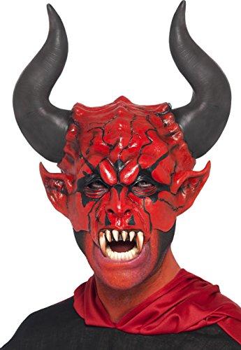 Smiffys, Herren Teufel Gesichts-Halbmaske, One Size, Rot, 38860