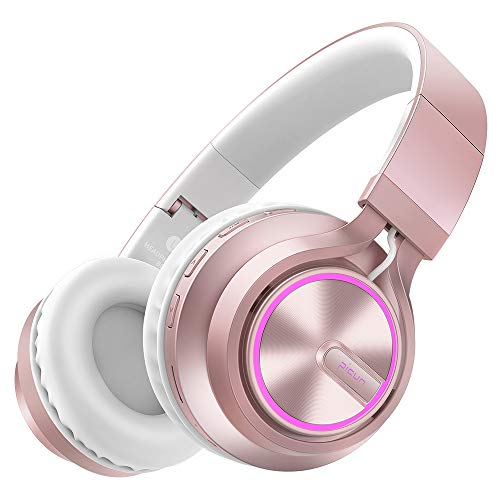 Picun Bluetooth Kopfhörer Kabellos LED Over Ear Wireless Headset mit 7 Farben Atemlampe, 20 Std Spielzeit, HD Mikrofon/TF Karte Slot/ 3,5mm Audio AUX, Faltbares für TV Tablets PC Handy (Rose Gold) Rosa Bluetooth
