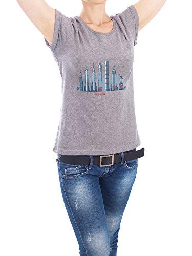 """Design T-Shirt Frauen Earth Positive """"New York"""" - stylisches Shirt Städte Städte / New York Architektur von Alexandr Bakanov Grau"""