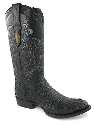 CUADRA Herren Westernstiefel / Lederstiefel hoch aus Kaiman Krokodil Rückenleder (handgefertigt) / Gr. EU 40-45, Farbe: Schwarz, Farbe:Schwarz;Größe:40.5 (Krokodil Cowboy Stiefel)