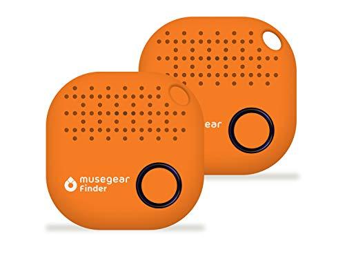 musegear® Schlüsselfinder mit Bluetooth App I 2er Pack I Version 2 I Keyfinder laut für Handy in orange I GPS Ortung/Kopplung I Schlüssel Finden