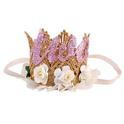 Baby Prinzessin Tiara Krone, EIN/Zwei Geburtstag Hut, Lace Sparkle Gold Flower Style Stirnband Dekor Haarschmuck (Color : Beige, Size : ()
