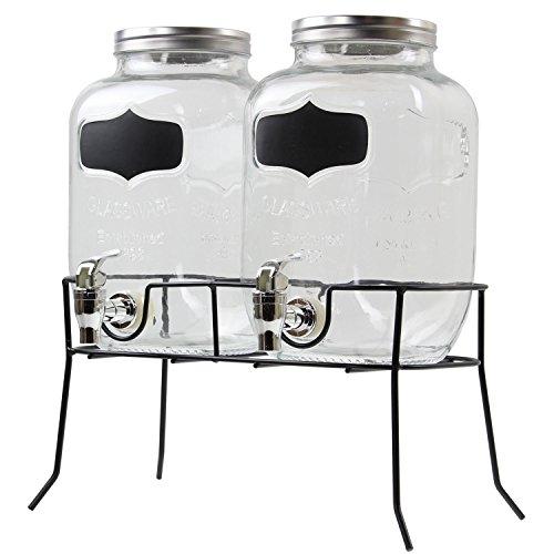Doble dispensador de bebidas de cristal de 4 litros con grifos en un soporte de metal