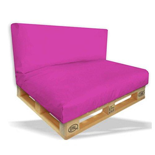 Palettenkissen 2er Set - Sitzpolster 120x80x15cm + Rückenkissen 120x40x10cm Farbe Pinkros