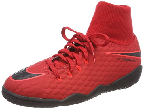 Nike Unisex-Kinder JR Hypervenomx Phelon 3 DF IC Fußballschuhe, Rot (University Red/Bright Crimson/Black 616), 35.5 EU -
