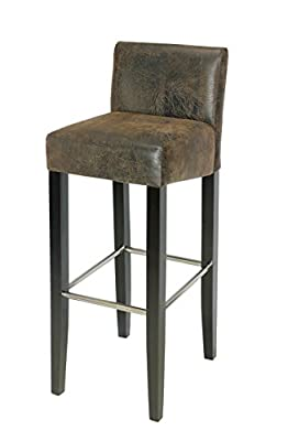 SixBros. Bar Stool Solid Beechwood Brown Antique Leather Look - BAR-01-WW/2085 - low-cost UK bar stool shop.