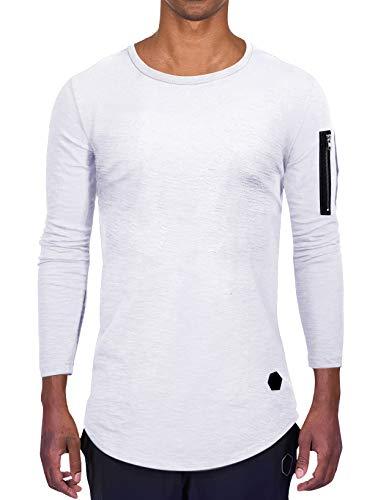 AitosuLa Langarmshirt Herren Long Sleeve T-Shirt Rundhals Einfarbig Base Tops Oberteile Langarm Shirt Slim Fit Basic Casual Tee Pullover Bluse Weiß XXXL