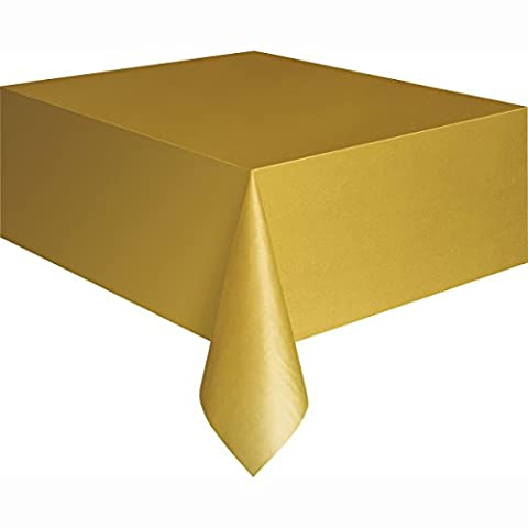 Gold Plastic Tablecloth, 9ft x 4.5ft