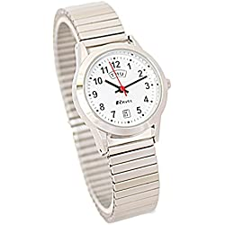 Ravel Ladies Stainless Steel Day/Date Silver Expandable Bracelet Strap Watch R0706.20.2EX
