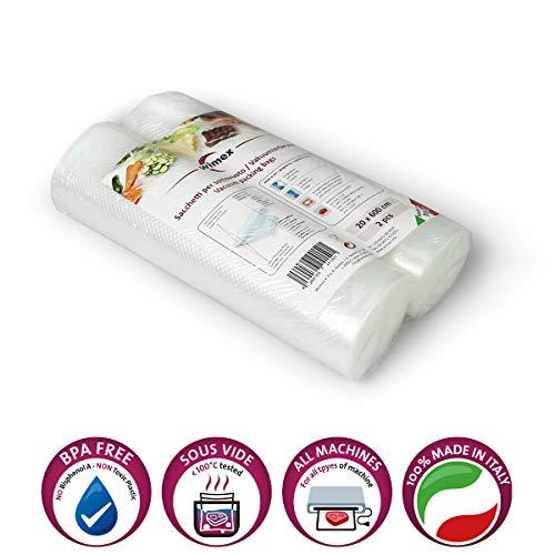 Wimex 2 Vakuumrollen 20x600cm (12 Meter) | BPA Free | Sous Vide geeignet | stabile Schweißnaht | Für alle Balken Vakuumierer geeignet | Vakuumrollen | Made in Italy