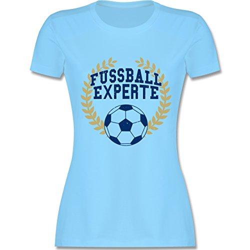 Fußball - Fussball Experte - tailliertes Premium T-Shirt mit Rundhalsausschnitt für Damen Hellblau