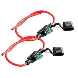 Neuftech® 2pcs Sicherungshalter KFZ LKW Flachsicherung Sicherung Halter wasserdicht 30A (inkl. 30A Sicherung - 26 cm)