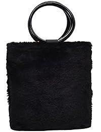 Tomtopp Women Fashion Handbag Leisure Plush Shoulder Messenger Bag Bucket Bag