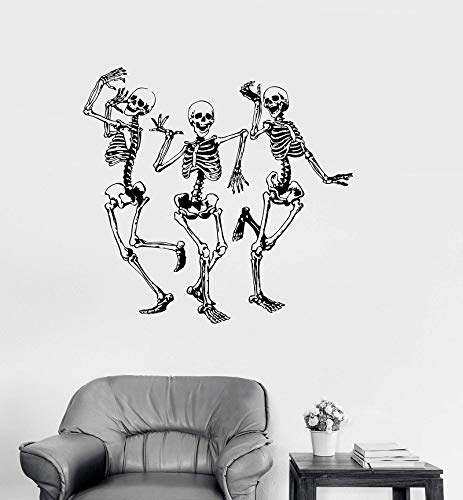 er Vinyl Wand Applique lustige Tanz Knochen Party Horror Halloween Aufkleber Mode Wohnkultur Wohnzimmer 57 * 60 cm ()