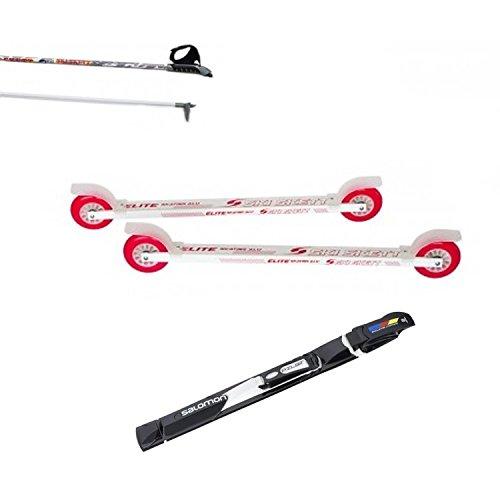 Ski Skett Rollski Set, Rollski ELITE Skate ALU PE, Salomon Pilot SK Bindung und Rollski Stöcke 160 cm Länge.