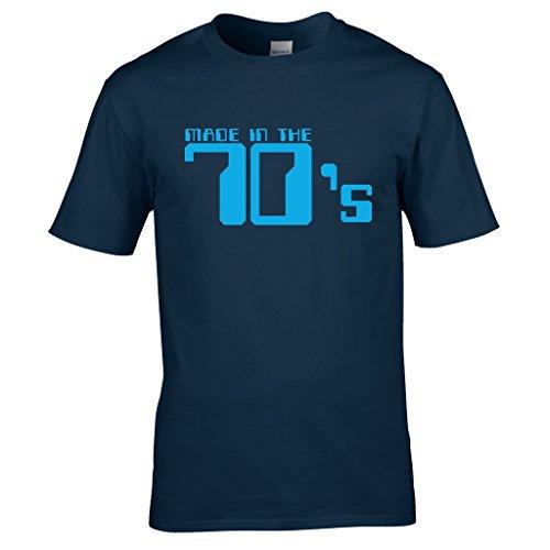 Naughtees kleidung - Made in the 70's t-shirt Großartig für retro partys, schulanfang discos oder zeigt you're stolz to be a kind von den 70's Marineblau