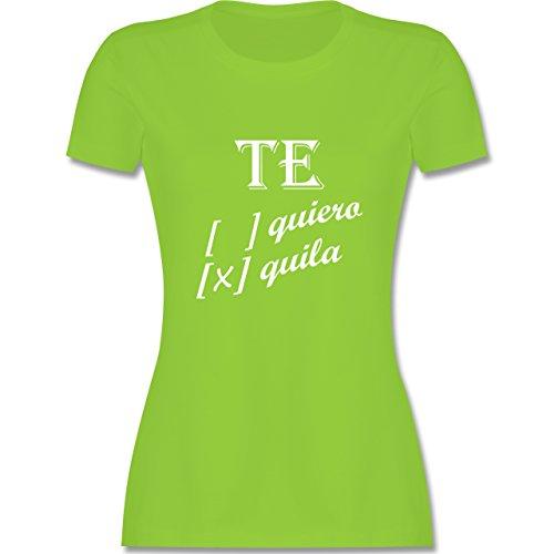 Statement Shirts - Te quiero, Tequila - tailliertes Premium T-Shirt mit Rundhalsausschnitt für Damen Hellgrün