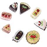 Lot 8pcs Miniature Assortiment Goûts Chocolat Fraise Cerise Gâteaux Dînette Maison poupée