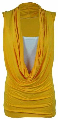 Nouveaux Femmes Grande Taille extensible contraste couche Cowl Neck Tops 44-54 yellow